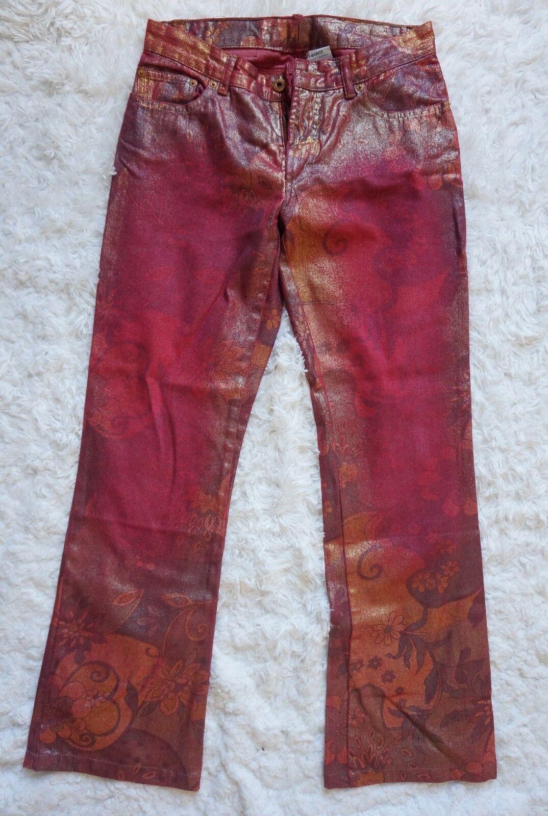 årgång PARASUCO Unique röd Pants embellished Design Woherrar Fit 31