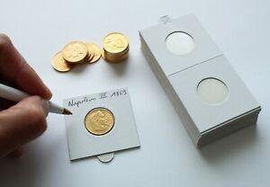25-Etuis-Carton-Autocollants-Blancs-pour-Pieces-de-20-Francs-Or