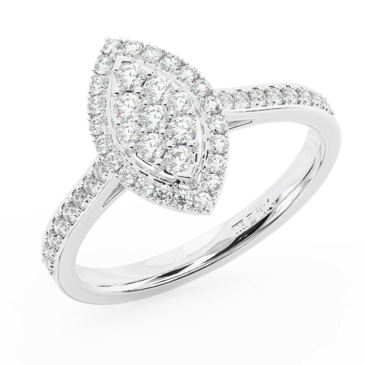 0.50CT Round Diamonds Marquise Type Halo Engagement Ring in Metal in 9K gold
