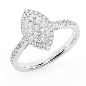 e41e8182c98ed Details about 0.50CT Round Diamonds Marquise Type Halo Engagement Ring in  Metal in 9K Gold