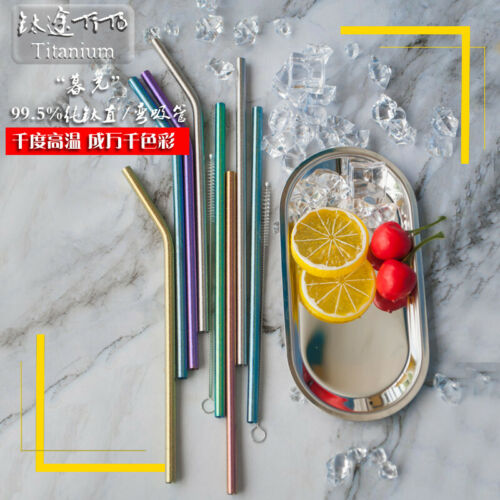 Pure Titanium Colorful Ice Flowers Reusable Drinking Straw Tableware with Brush