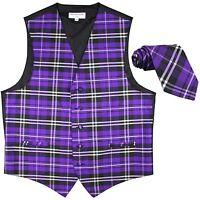 New Men's Plaid Tuxedo Vest Waistcoat & Necktie Purple Wedding Prom formal