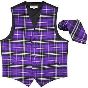New-Men-039-s-Plaid-Tuxedo-Vest-Waistcoat-amp-Necktie-Purple-Wedding-Prom-formal