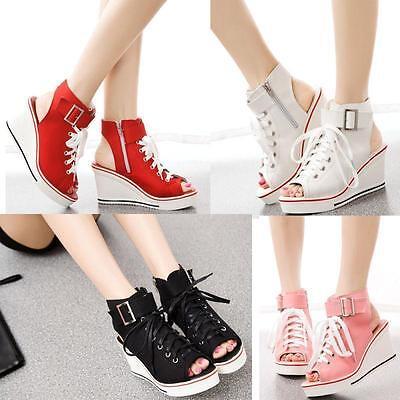 New Womens Peep Toe Platform Canvas Sandals Wedge Heel Sneakers High Top Shoe US