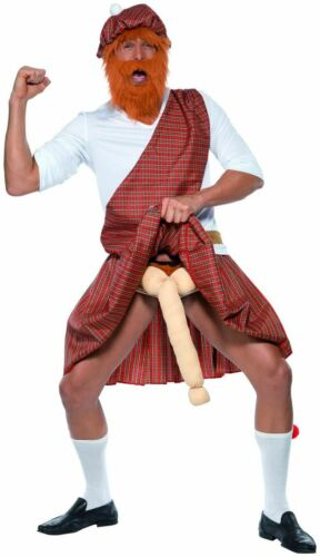 Adulte Écossais Highlander Well Hung ROBE FANTAISIE HOMME Stag Party Costume