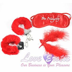 Image is loading Be-Naughty-Red-Soft-Furry-Handcuffs-Eye-Mask-
