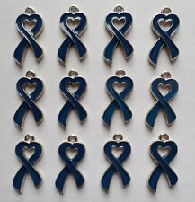 12 Enamel Blue Ribbon Heart Cancer Awareness Charms Jewelry Earrings Making B4