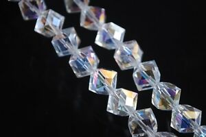 Bulk-10pcs-10mm-Diagonal-Cube-Square-Faceted-Crystal-Glass-Loose-Beads-Clear-AB