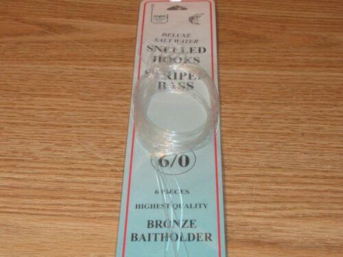 SZ 6//0 SNELLED BRONZE BAITHOLDER HOOKS DOLPHIN BRAND 72 FISH HOOKS 12 PKS