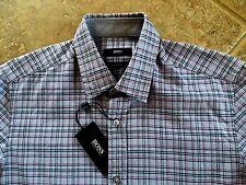 Hugo Boss Black Label Lukas Button Down Shirt Mens L Regular Gray Plaid NWT $155