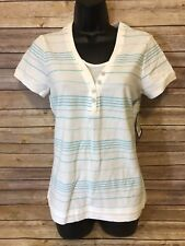 Womens a:glow Maternity Top NEW Short Sleeves Striped Shirt Large V-Neck