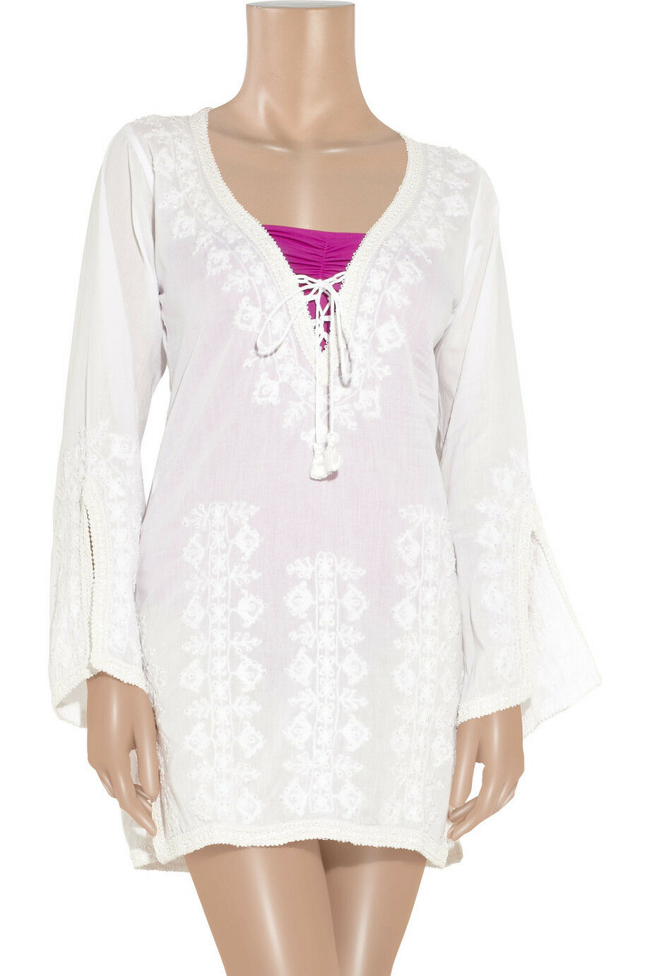 MELISSA ODABASH Weiß Embroiderot Kaftan Kleid Cover Up Beach Bikini BNWT S M L