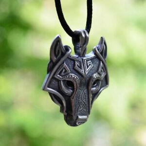 Wolf-Kopf-silber-leder-Anhaenger-Herren-Halskette-wikinger-viking-nordisch-Rune