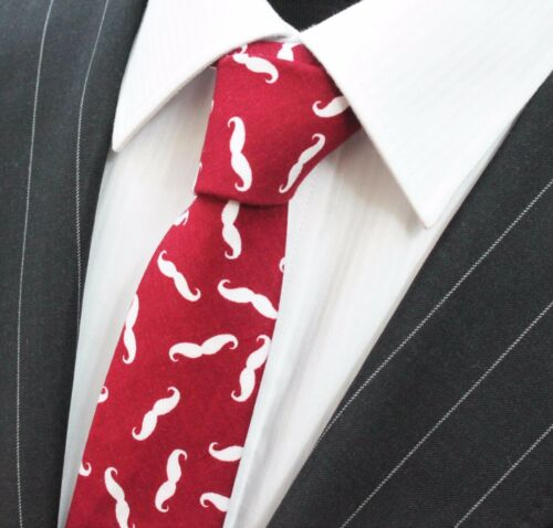 Tie Neck tie Slim Burgundy with White Moustache Quality Cotton T6149