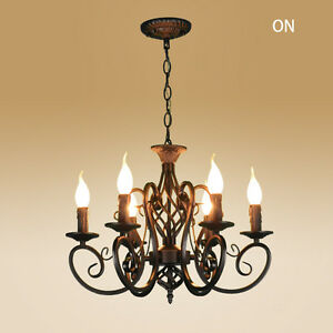 Image Is Loading Vintage Ceiling Lamp 6 Candle Lights Lighting Fixtures