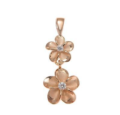 ROSE GOLD STERLING SILVER 925 HAWAIIAN 8MM DANGLE 10MM PLUMERIA FLOWER PENDANT