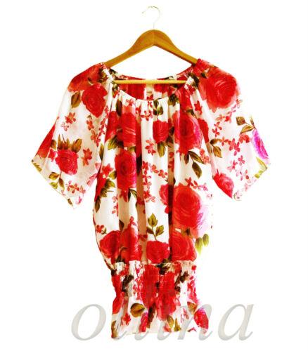 New Ladies Womens Chiffon Shirt Print Short Sleeve Sleeveless Blouse Casual Tops