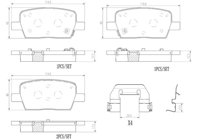 Brembo Rear NAO Ceramic Brake Pad Set For Enclave Camaro Traverse Acadia XT5 CT6