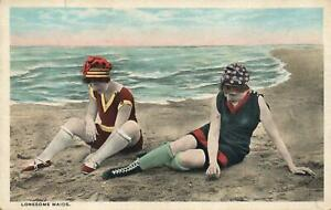 EARLY-1900-039-s-VINTAGE-WOMEN-BATHING-GIRLS-sitting-on-LONESOME-BEACH-POSTCARD