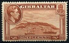 Gibraltar 1938-51 SG#122, 1d Yellow-Brown P14 KGVI MH Wmk Upright #D47948