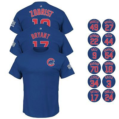 2016 Chicago Cubs Player World Series Champ Blue Jersey T-Shirt Collection Men's