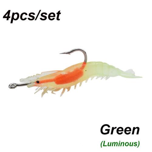 auf See Luminous Prawn Lure Silikon mit Haken Garnelen Fake Bait Single Hook