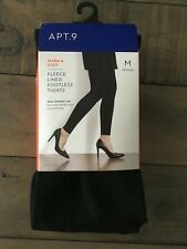 690847e46bd Women s Apt. 9 Black Fleece-Lined Footless Tights Sz M -NEW! Women s Apt. 9  Black Fleece-Lined Footless Tights Sz M
