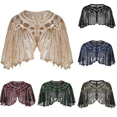 Femmes 1920 S Châle Wrap Art Deco Sequin Perle Soirée Cape BOLERO Clapet Cover Up