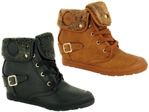 Ladies Color Lace Up Flat Walking Faux Fur Spot Casual Pin Buckle  Ankle Boots
