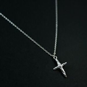 GENUINE-925-Sterling-Silver-Textured-Cross-Delicate-Necklace-UK-New