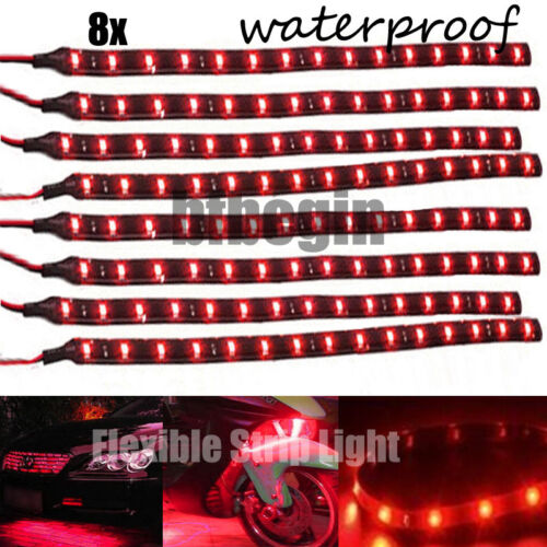 8x Motorcycle Car Window12V 30cm 3528 LED Flexible Strip Light Waterproof Lamp