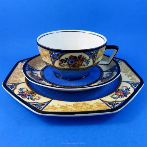 """Stunning Cobalt Blue /""""Melody/"""" Wedgwood Tea Cup Saucer and Plate Trio Set"""