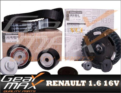 Timing Belt Kit 2 x Core Plugs Genuine RENAULT 1.6 16V Dephaser Pulley