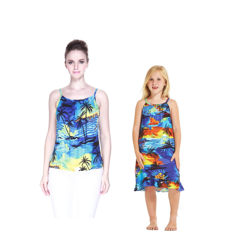 Mother Daughter Matching Luau Cruise Tunic Dress Elastic Tank Top Sunset Blue