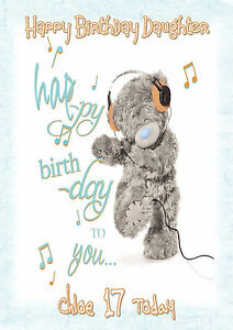 Personalised Birthday Card Cute Teddy Bear Daughter Sister