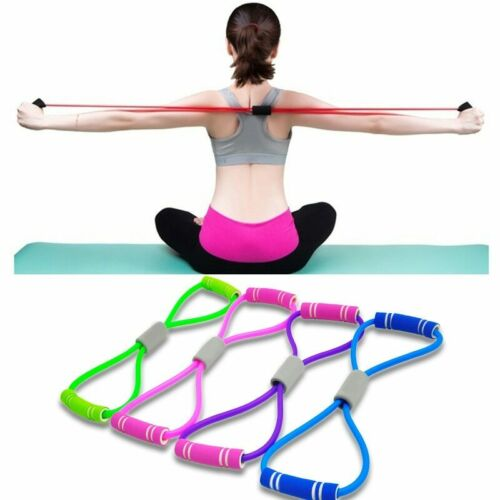 Hot Yoga Gum Fitness Resistance 8 Word Chest Expander Rope Workout Elastic Bands