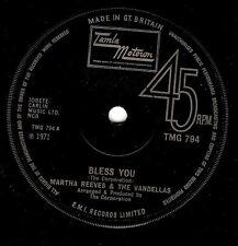 MARTHA REEVES AND THE VANDELLAS Bless You Vinyl 7 Inch Tamla Motown TMG 794 1971