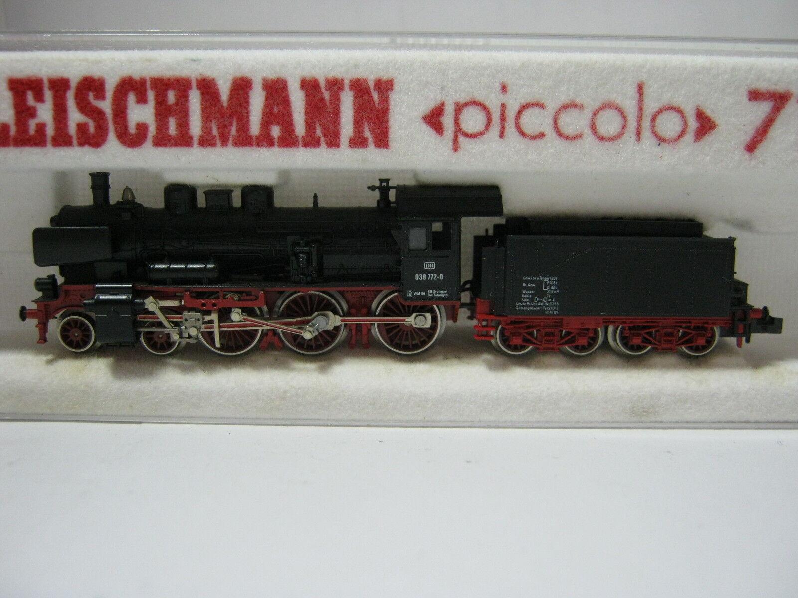 Fleischmann N 7160 locomotiva a vapore btrnr 038 772-0 DB  rg/aw/50s5