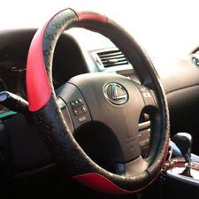 Black Red PVC Leather Steering Wheel Cover Sport Design Good Fit Non Slip 51004b