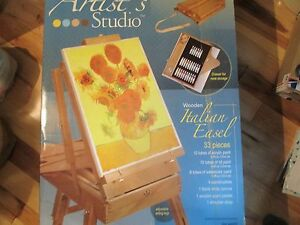 Artist S Studio Wooden Italian Easel With 33 Piece Paint Set In Box
