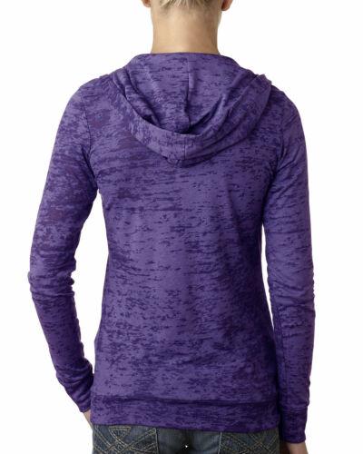 Women/'s Lightweight Burnout Hoodie Next Level Chic Soft Fabric Purple S-2XL NEW