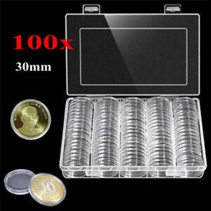 Ee-UK-100PCS-Caja-30MM-Moneda-Almacenamiento-Soporte-Estuche-Expositor