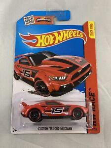 HOT-Wheels-Personalizzato-039-15-Ford-Mustang-RAZZA-HW-Rosso-Scala-1-64-spedizione-in-scatola