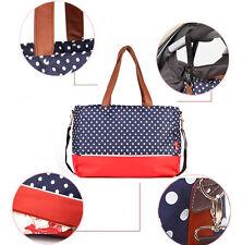 Allis Baby Changing Bag Fashion Diaper Nappy Bag 6PCs PVC FREE - Blue Red