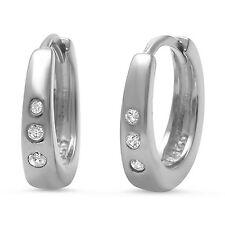 Cubic Zirconia Hoop .925 Sterling Silver Earrings