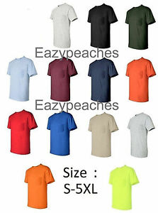 ab4cd6f44127 Gildan NEW Mens Size S-XL 2XL 3XL 4XL 5XL Pocket Tees 100% Cotton T ...