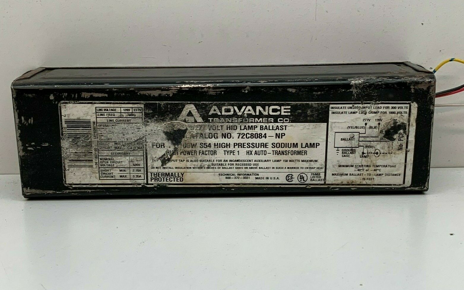 New Philips Advance  72C8084-NP Lamp Ballast New Open Box