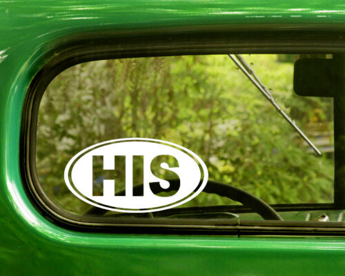 2 HIS HUSBAND DECALs Oval Sticker For Car Window Truck Laptop Rv Bumper Jeep