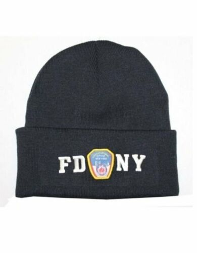 FDNY chapeau d/'hiver police badge Fire Department of New York City Bleu Marine /& Blanc Taille Unique