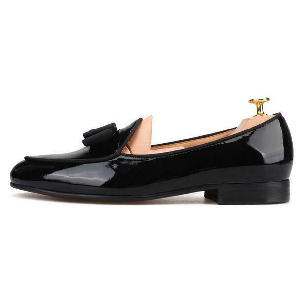 New Handmade bowtie patent leather mens mens mens loafers party leather dress formal scarpe 9ee6bf